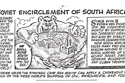 """""""Who's Behind the South African Crisis?"""" Comic by Disney Cartoonist Vic Lockman"""