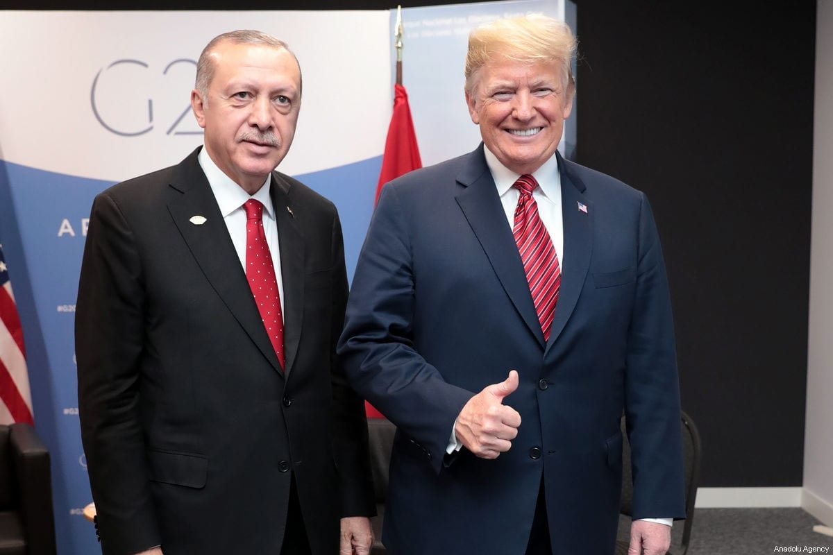 President of Turkey Recep Tayyip Erdogan (L) meets with US President Donald Trump (R) within the G20 Leaders' Summit in Buenos Aires, Argentina on December 01, 2018 [TURKISH PRESIDENCY / MURAT CETINMUHURDAR / HANDOUT - Anadolu Agency]