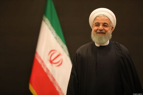 President of Iran, Hassan Rouhani receives Turkish Parliament Speaker Binali Yildirim (not seen) in Tehran, Iran on December 8, 2018 [Hakan Göktepe / Anadolu Agency]