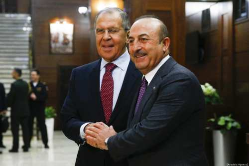 Minister of Foreign Affairs of Russia, Sergey Lavrov (L) meets Minister of Foreign Affairs of Turkey, Mevlut Cavusoglu (R) in Moscow, Russia on December 29, 2018. ( Sefa Karacan - Anadolu Agency )