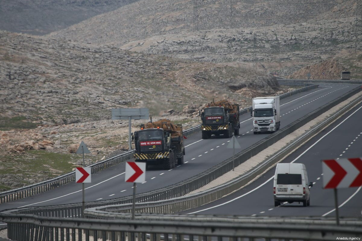 Turkish military vehicles are dispatched to Turkey's Mardin province to support the units at the Syrian border in Sanliurfa, Turkey on December 29, 2018 [Halil Fidan / Anadolu Agency]