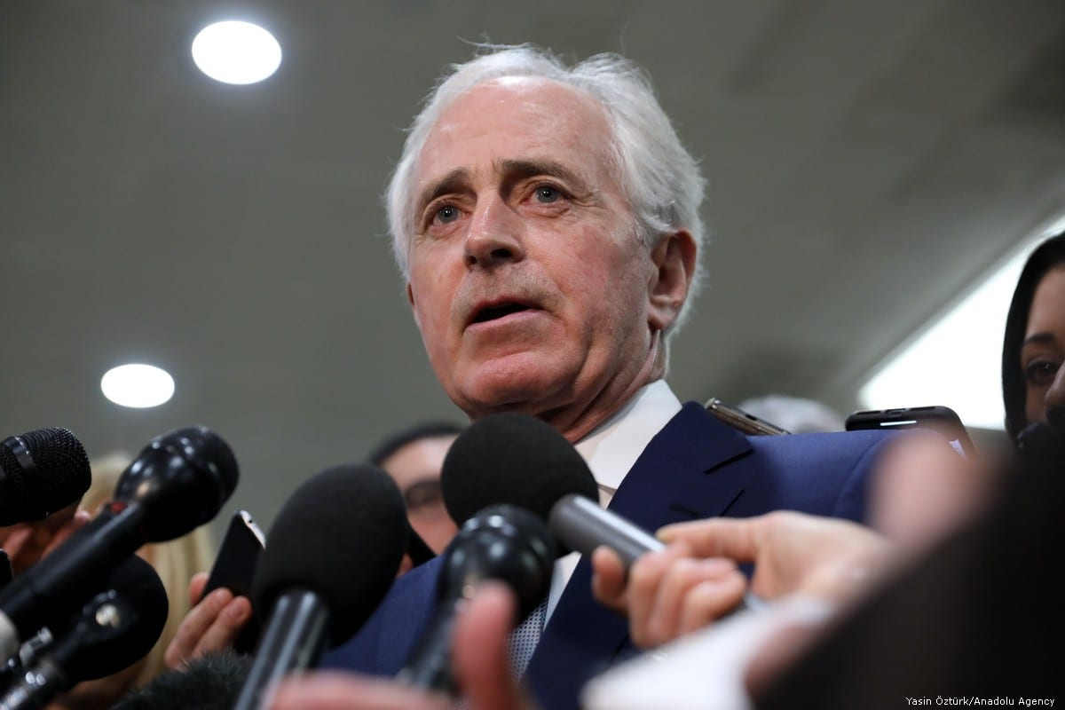 Senator Bob Corker speaks to journalist after an intelligence briefing on the murder of Jamal Khashoggi in Washington, US on 4 December 2018 [Yasin Öztürk/Anadolu Agency]