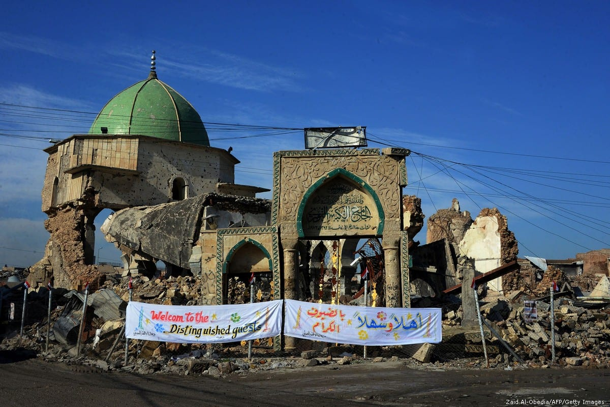 The remains of the Great Mosque of Al-Nuri in Mosul, Iraq on 17 December 2018 [Zaid Al-Obedia/AFP/Getty Images]
