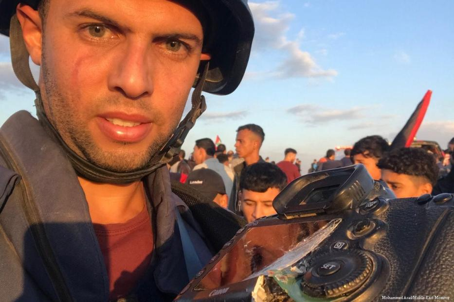 MEMO photographer Mohammed Assad had his camera destroyed during Israel's attack on Palestinians during the Great March of Return [Mohammed Asad/Middle East Monitor]