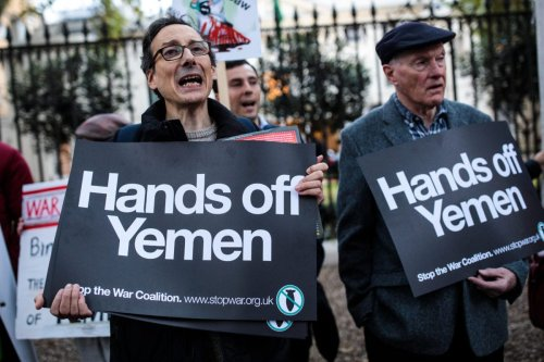 Protesters demonstrate against the war in Yemen and the killing of journalist Jamal Khashoggi outside the Saudi Arabian embassy on October 25, 2018 in London, England [Jack Taylor/Getty Images]