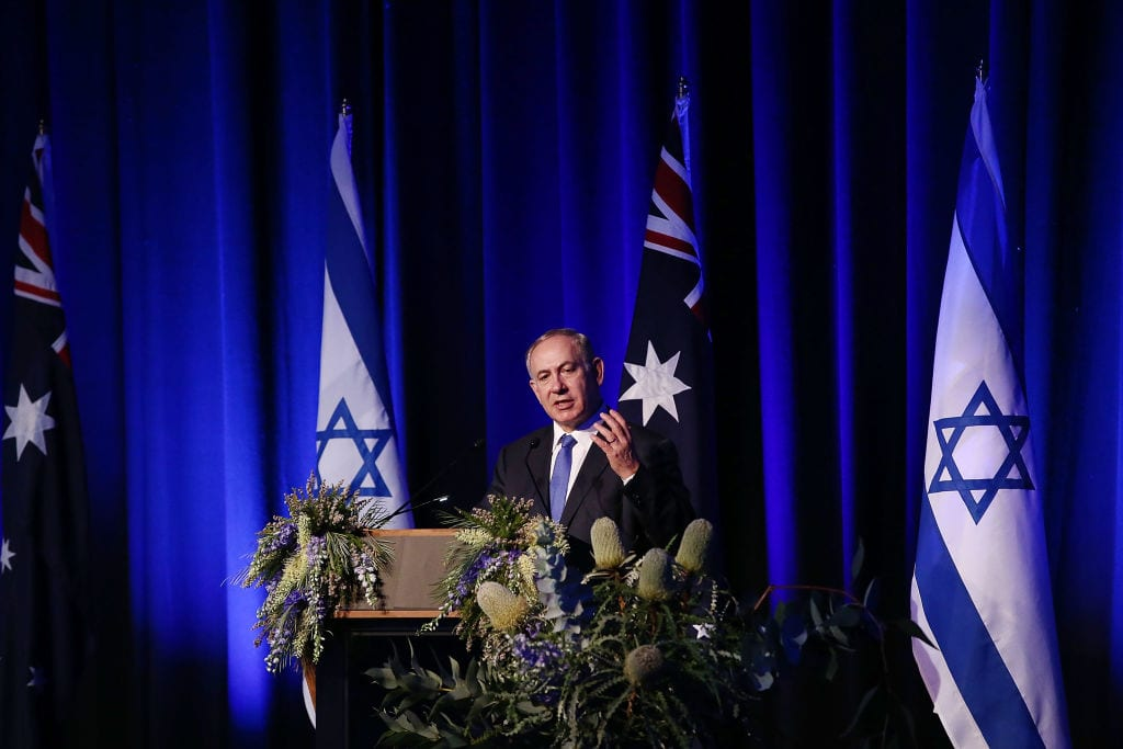 Israel Prime Minister Benjamin Netanyahu speaks at a luncheon at Sydney International Convention Centre on February 22, 2017 in Sydney, Australia. (Photo by Mark Metcalfe/Getty Images)