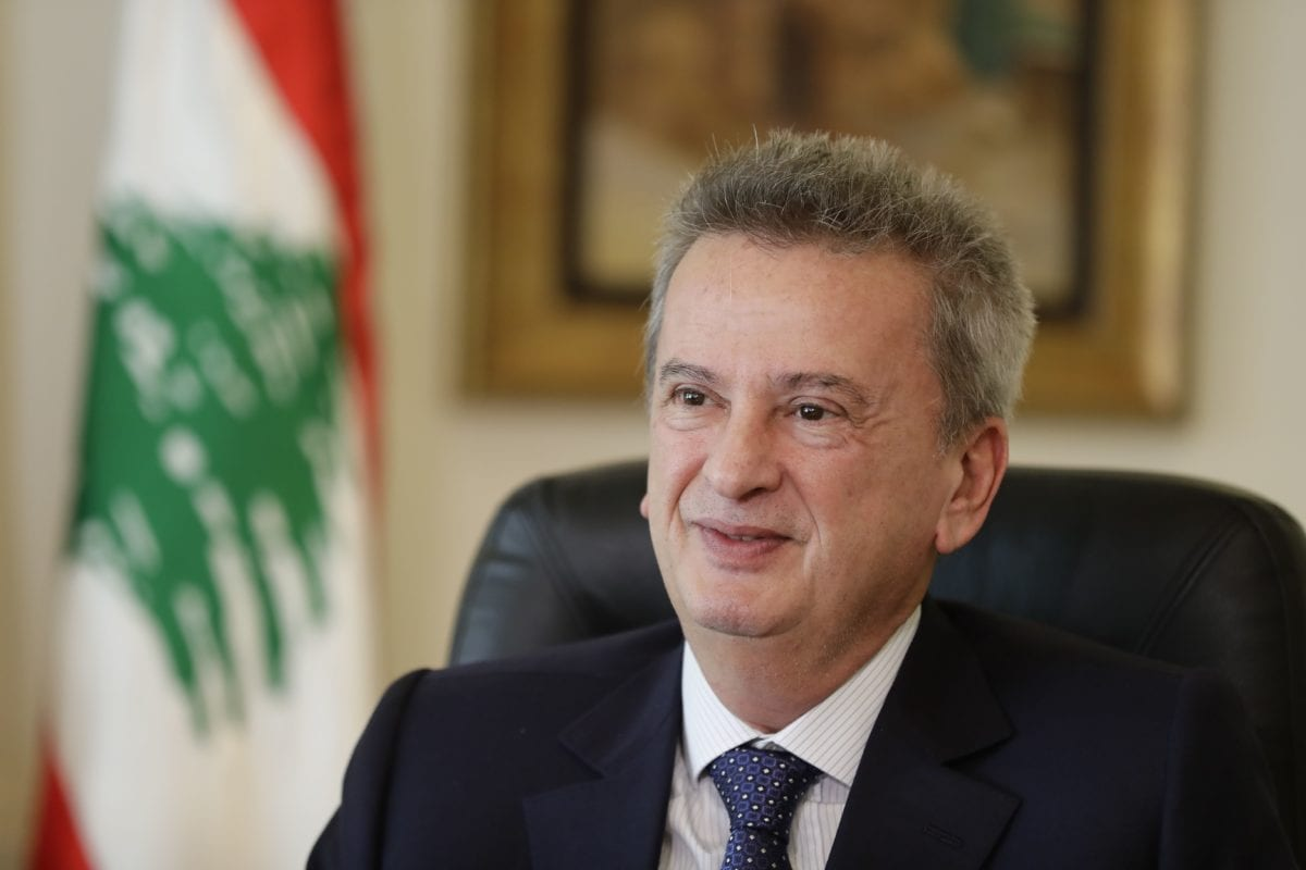 Lebanon's Central Bank Governor Riad Salameh speaks to a reporter during an interview with AFP at his office in Beirut on December 15, 2017 [JOSEPH EID/AFP/Getty Images]