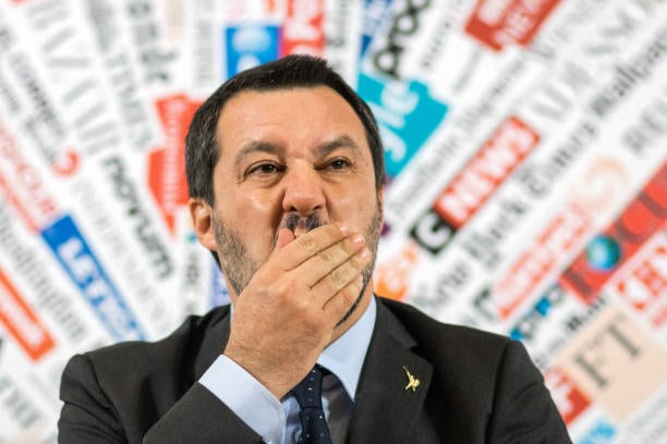 Matteo Salvini, Italy's deputy prime minister, gestures during a news conference at the Foreign Press Association in Rome, Italy, on 10 December 2018 [Alessia Pierdomenico/Bloomberg via Getty Images]