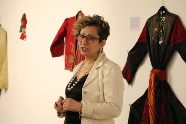 Palestinian anthropologist Suhad Jarrar-Browne at 'BAYT   The Art of Arab Hospitality' exhibition at the P21 Gallery in London, UK on 18 January 2019 [Jehan Alfarra / Middle East Monitor]