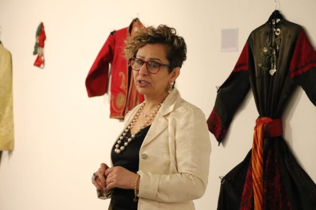 Palestinian anthropologist Suhad Jarrar-Browne at 'BAYT | The Art of Arab Hospitality' exhibition at the P21 Gallery in London, UK on 18 January 2019 [Jehan Alfarra / Middle East Monitor]