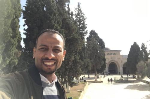 Egyptian journalist, Abu Bakr Khallaf outside Al-Aqsa Mosque in Jerusalem on 26 January 2019 [Aboubakr Khallaf/Facebook]