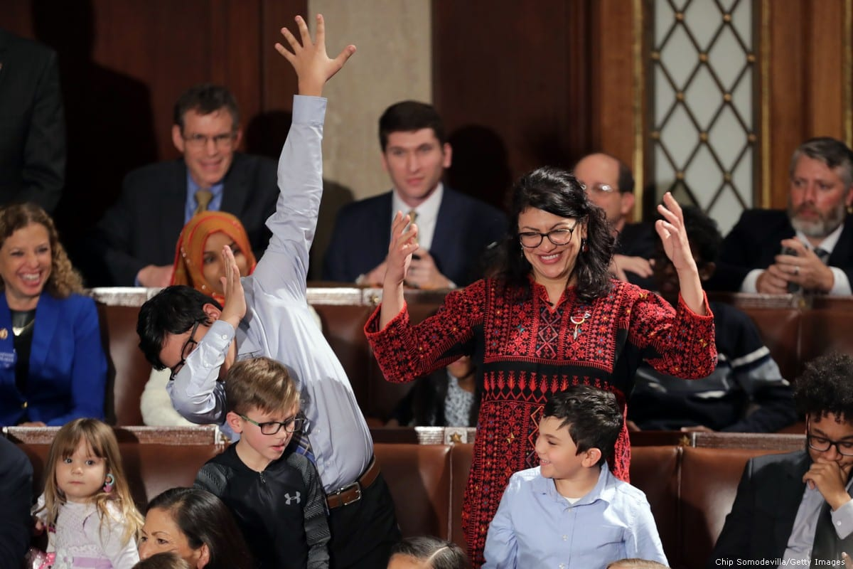 Rashida Tlaib, the first Palestinian congresswoman along with her kids during the first session of the 116th Congress at the US Capitol 3 January 2019 in Washington, DC [Chip Somodevilla/Getty Images]