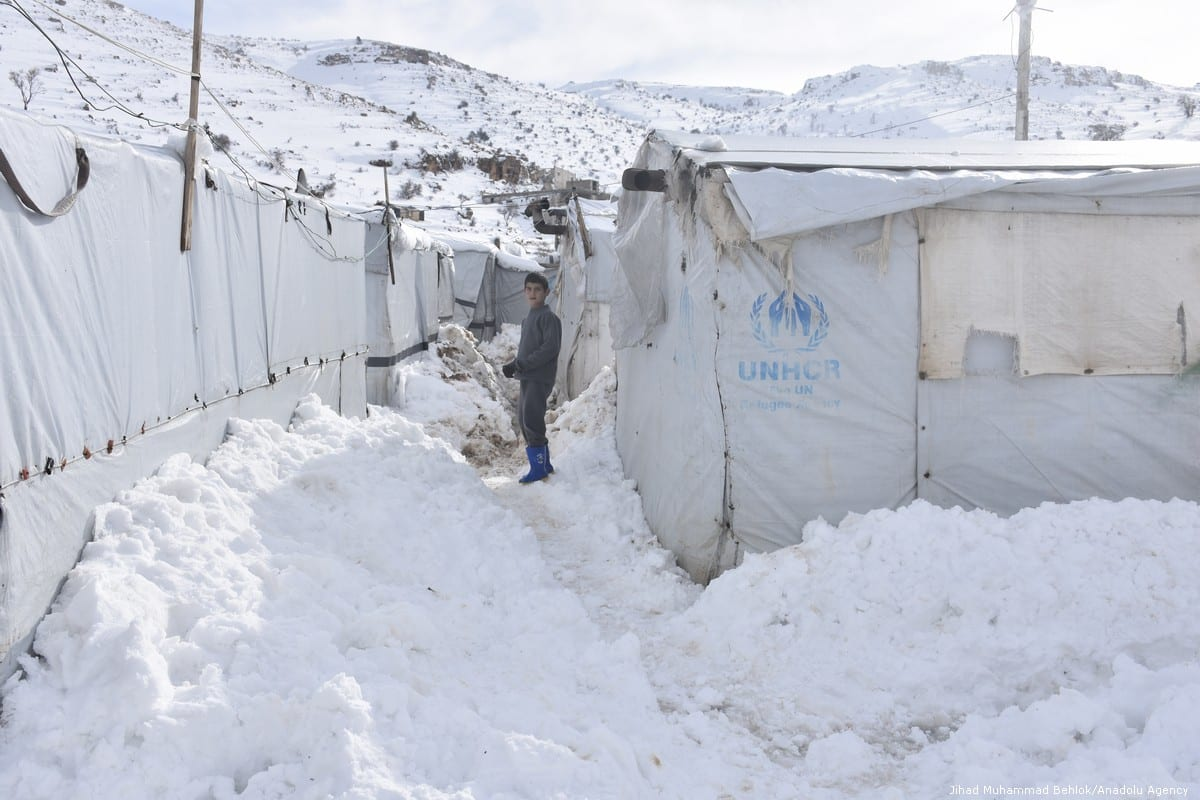 A view of a snow-covered refugee camp in Arsal, Lebanon on 10 January 2019 [Jihad Muhammad Behlok/Anadolu Agency]