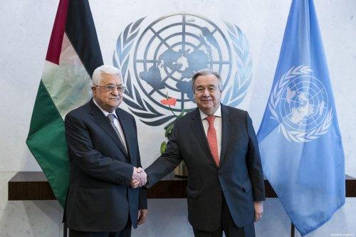 Palestinian President Mahmoud Abbas (L) shakes hands with Secretary-General of the United Nations, Antonio Guterres (R) in New York, United States on 14 January 2018. [Atılgan Özdil - Anadolu Agency]