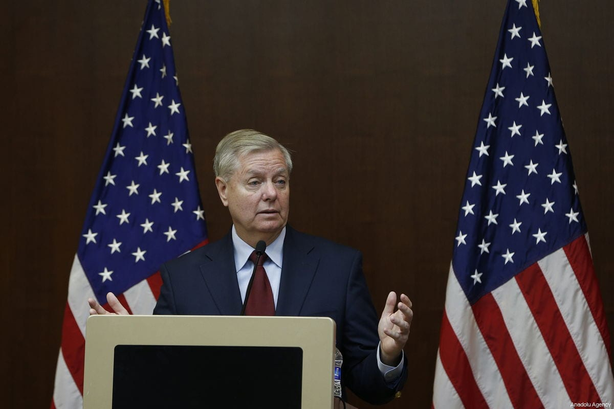 US Senator Lindsey Graham speaks during his media conference at JW Marriott Hotel in Ankara, Turkey on January 19, 2019 [Murat Kaynak / Anadolu Agency]