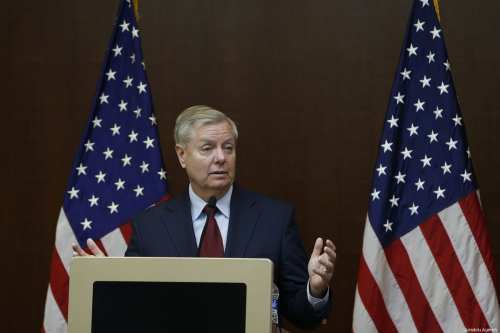 US Senator Lindsey Graham speaks during his media conference at JW Marriott Hotel in Ankara, Turkey on January 19, 2019 [Murat Kaynak / Anadolu Agency]