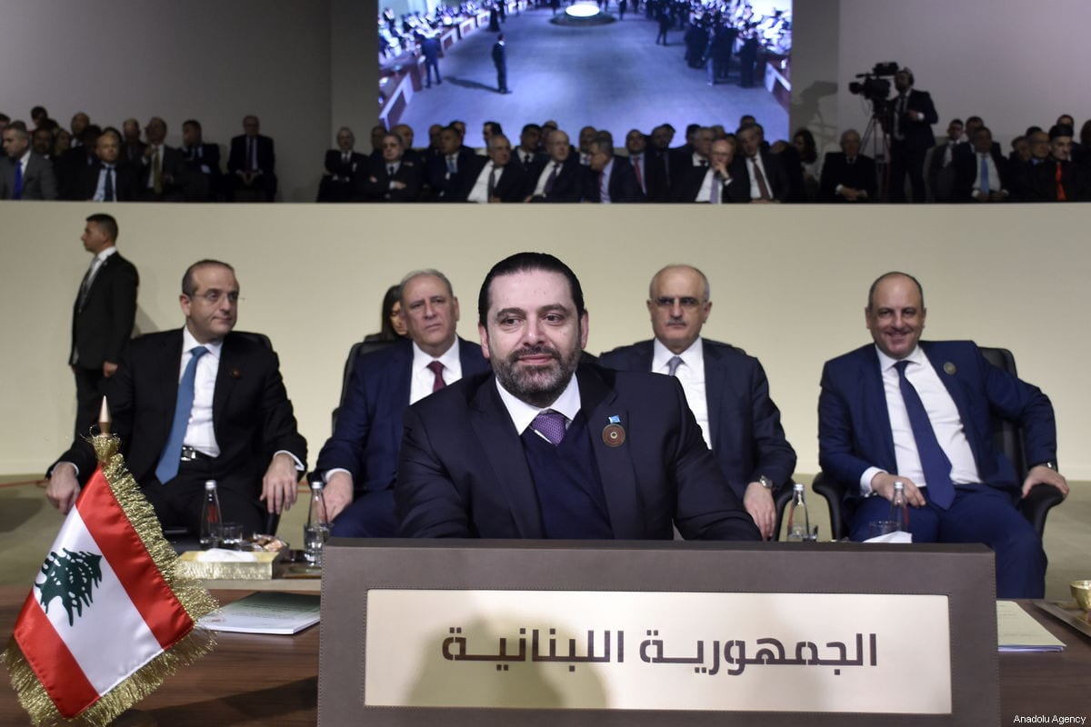 Prime Minister of Lebanon Saad Al-Hariri can be seen in the Arab League's 4th Economic and Social Development Summit on 20 January 2019 in Beirut, Lebanon [Jihad Muhammad Behlok/Anadolu Agency]