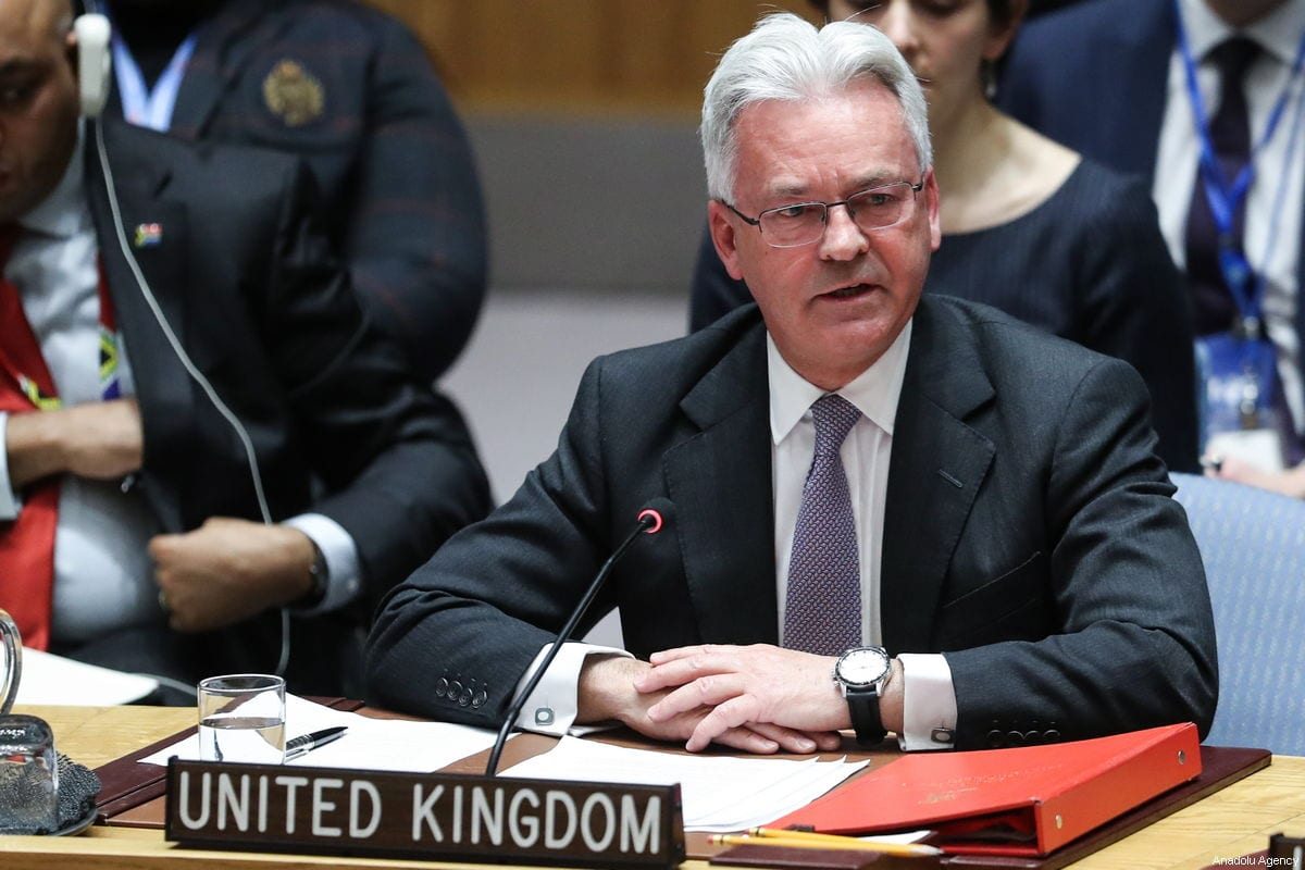 Former British Minister of State for Europe and the Americas Sir Alan Duncan (Front), makes a speech during the Security Council meeting on the situation in Venezuela, at the United Nations headquarters in New York, United States on 26 January 2019. [Atılgan Özdil - Anadolu Agency]