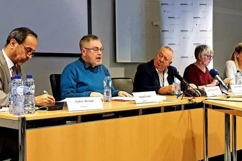 Representatives of the European Parliament and human rights activists discuss the Jewish state bill and the European role required to end Israeli Apartheid in London, UK on 22 January 2019