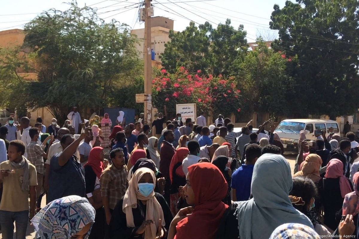 Sudanese protesters attend an anti-government demonstration in the capital Khartoum