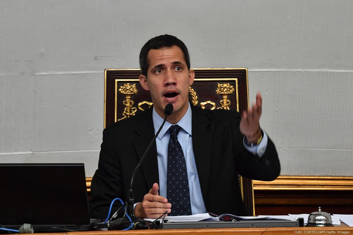 Juan Guaidó, who has appointed himself interim president, is seen during a session at the National Assembly in Caracas, Venezuela on 29 January 2019 [YURI CORTEZ/AFP/Getty Images]