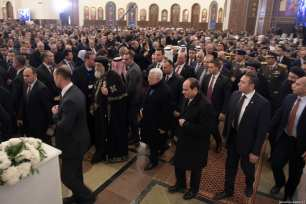 Palestinian President Mahmoud Abbas (R4) and with Egyptian President Abdel Fattah al-Sisi (R3) attend the formal opening of al-Fattah al-Aleem Mosque and The Cathedral of the Nativity, in Cairo, Egypt on January 07, 2019. ( Palestinian Presidency / Handout - Anadolu Agency )