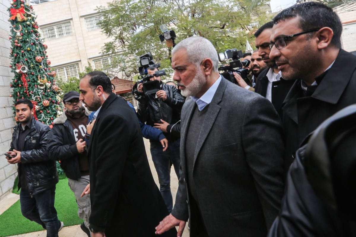 Ismail Haniyeh (C), chairman of Hamas in Gaza City on 29 December 2018 [MAHMUD HAMS/AFP/Getty Images]