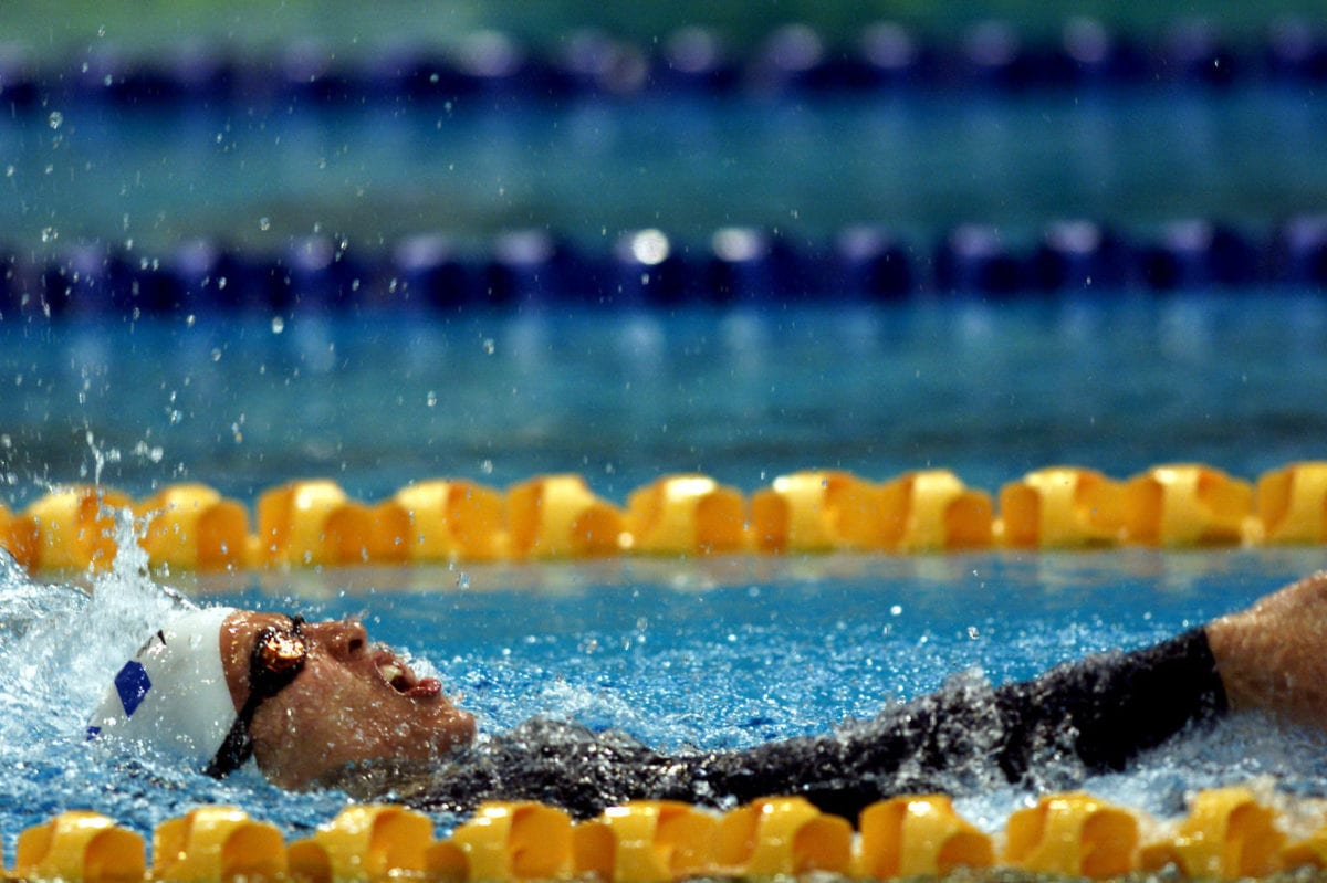 Keren Leibovitch of Israel on her way to Gold in the Womens 100m Backstroke Final during the Sydney 2000 Paralympic Games at the Sydney International Aquatic Centre, Homebush Bay, Sydney, Australia [Sean Garnsworthy/ALLSPORT/Getty Images]