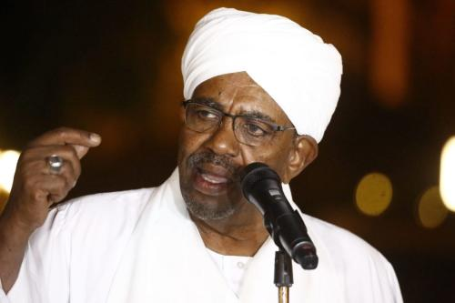 Sudanese President Omar al-Bashir delivers a speech at the presidential palace in the capital Khartoum on January 3, 2019. (Photo by ASHRAF SHAZLY / AFP/Getty Images)
