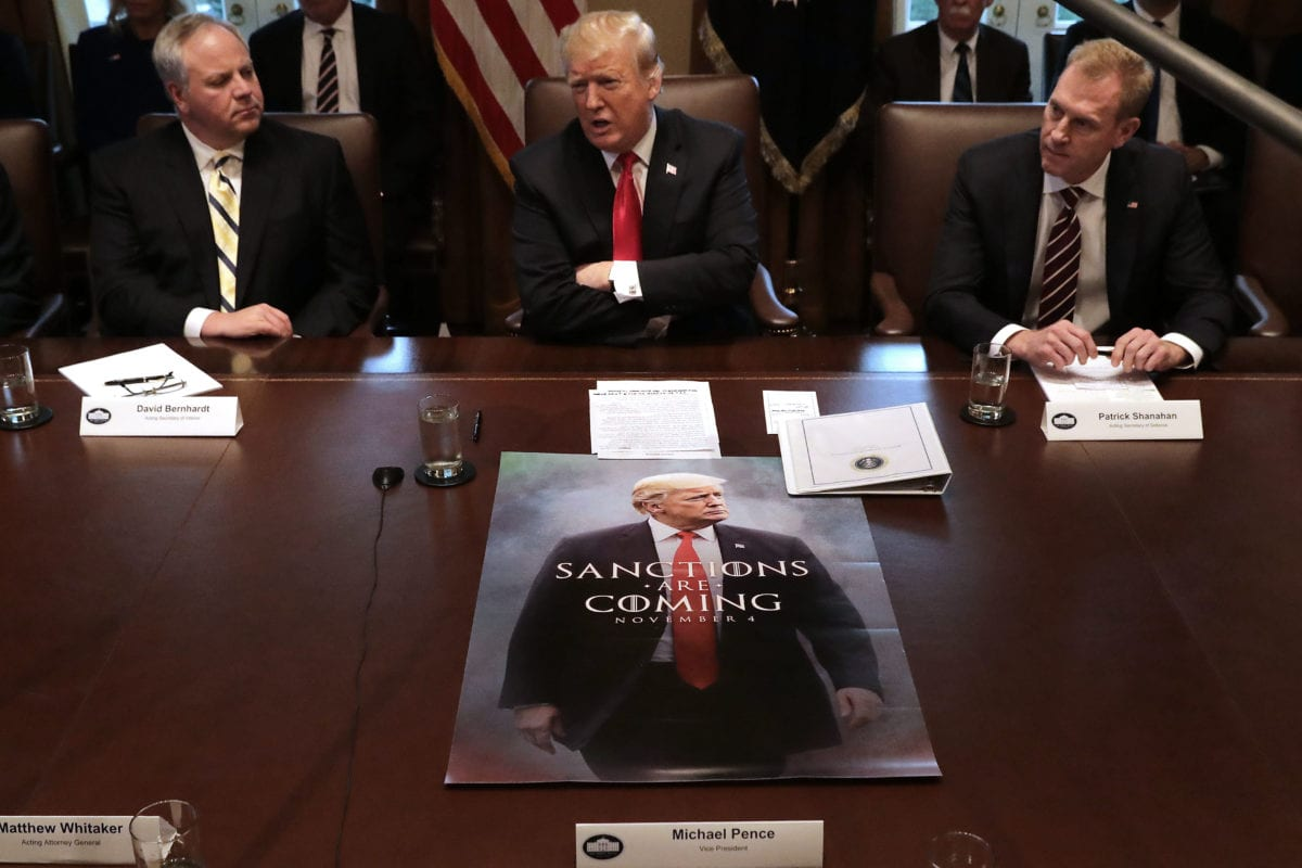 US President Donald Trump (C) leads a meeting of his Cabinet, including acting Interior Secretary David Bernhardt (L) and acting Defense Secretary Patrick Shanahan, at the White House, US on 2 January 2019 [Chip Somodevilla/Getty Images]