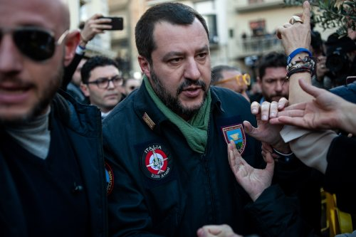 Interior Minister Matteo Salvini wears a police jacket on 18 January 2019 in Afragola, Italy [Ivan Romano Getty Images]