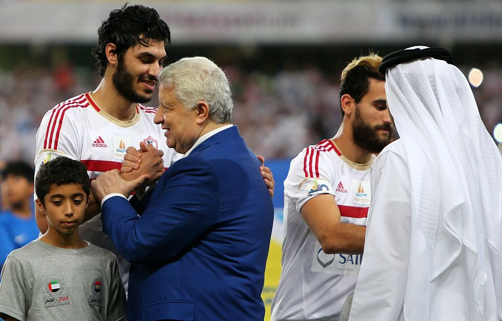 Egyptian head of Cairo's Zamalek football club Mortada Mansour (2ndL) greets his players before the Egypt super cup football match between Egypt's Al-Ahly SC and Zamalek, on 15 October 2015 at Sheik Hazza Bin Zayed stadium in Al-Ain, UAE. [MARWAN NAAMANI/AFP/Getty Images]