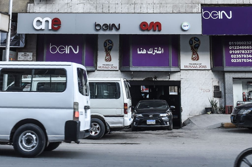 A channel sales outlet BEIN Sport in Cairo, on May 13 2018. (Photo by MOHAMED EL-SHAHED/AFP/Getty Images)