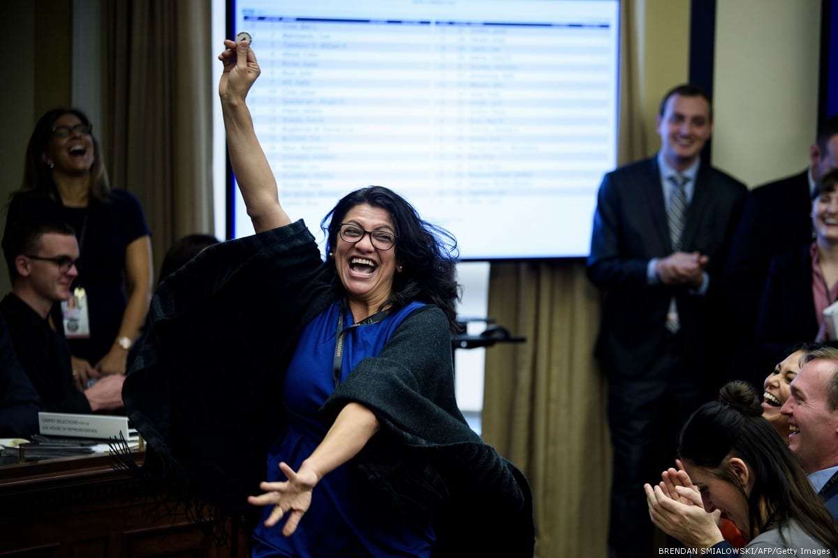 Rashida Tlaib removes Israel from the map in her congressional office