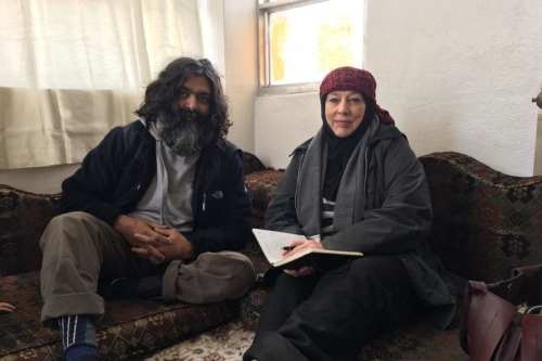 British aid worker Muhammad Shakiel Shabir, seen with Yvonne Ridley, after being rescued from his kidnappers by HTS rebels, in Idlib Syria on January 11, 2018