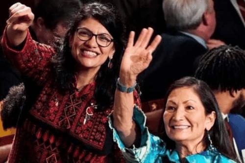 Congresswoman Rashida Tlaib wears Palestinian thobe to swearing next to first elected Native American Deb Haaland congresswoman [Instagram]