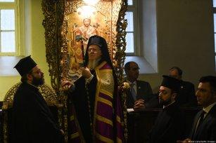 Greek Orthodox Patriarch Bartolomew I attends a mass at the Agia Triada Church at the Theological School of Halki in Heybeliada Island on 6 February 2019 in Istanbul, Turkey [Burak Kara/Getty Images]