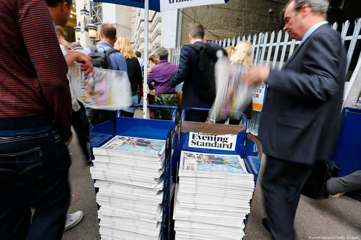 Newspaper Evening Standard is offered for free at a train and tube station on 7 August 2012 in London, England, United Kingdom [EyesWideOpen/Getty Images]