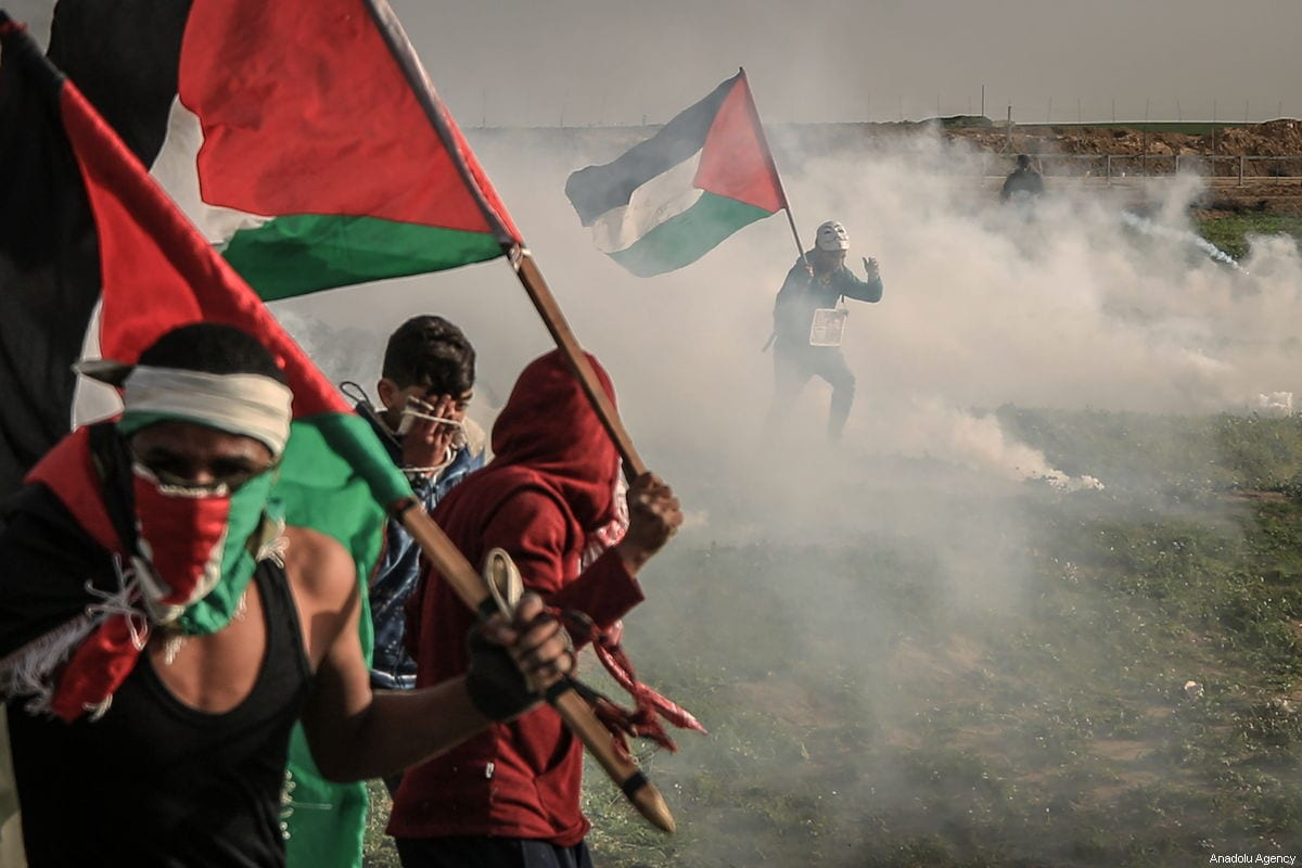 Israeli security forces use tear gas to disperse Palestinians during the Great March of Return in Gaza on 1 February 2019 [Ali Jadallah/Anadolu Agency]