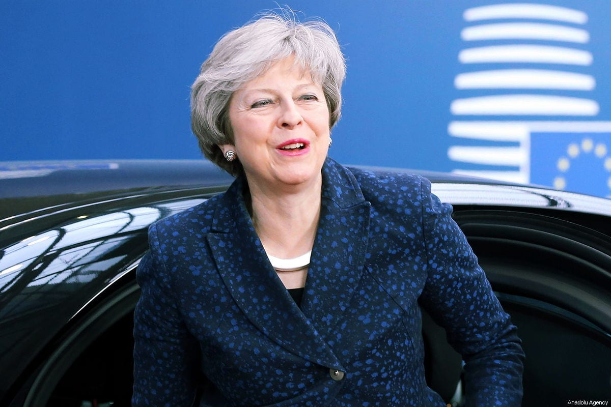 British Prime Minister Theresa May arrives at European Council building to meet with President of the European Council Donald Tusk in Brussels, Belgium on February 7, 2019 [Dursun Aydemir / Anadolu Agency]