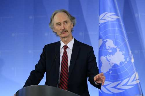The United Nations (UN) Special Envoy for Syria, Geir Pedersen speaks during a joint press conference held with Minister of Foreign Affairs of Germany, Heiko Maas (not seen) in Berlin, Germany on February 12, 2019 [Abdülhamid Hoşbaş / Anadolu Agency]