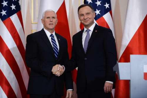 Polish President Andrzej Duda (R) and US Vice President Mike Pence (L) hold a press conference at the Belvedere Palace in Warsaw, Poland on 13 February 2019. [Omar Marques - Anadolu Agency]