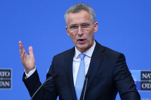 NATO Secretary-General Jens Stoltenberg holds a press conference after the NATO Defense Ministers' meeting, at NATO Headquarters on 14 February 2019 in Brussels, Belgium. [Dursun Aydemir - Anadolu Agency]