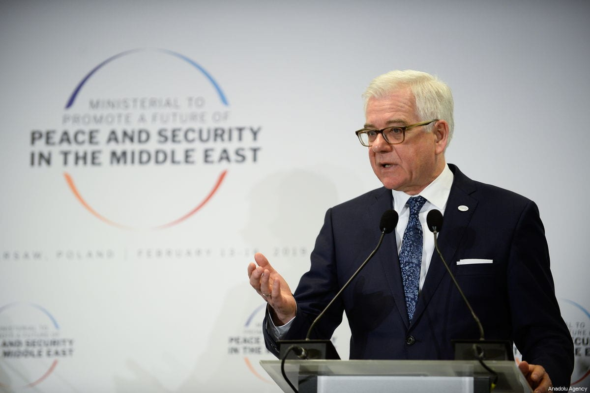 """Jacek Czaputowicz delivers a speech during a joint press conference with US Secretary of State Mike Pompeo (not seen) at the """"Ministerial to Promote a Future of Peace and Security in the Middle East"""" co hosted by US and Poland in the National Stadium in Warsaw, Poland on 14 February 2019 [Omar Marques/Anadolu Agency]"""