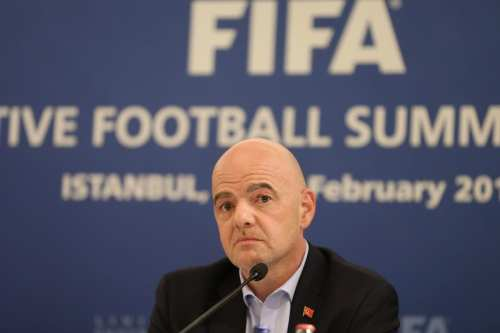 FIFA President Gianni Infantino makes a speech during a press conference following the Executive Football Summits in Istanbul, Turkey on 15 February 2019. [İsa Terli - Anadolu Agency]