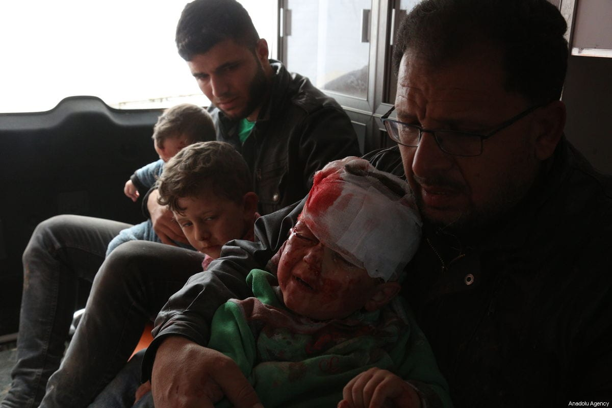 Wounded kids are being taken to hospital after the Assad Regime carried out attacks in Idlib, Syria on 16 February 2019 [Enes Diyab/Anadolu Agency]