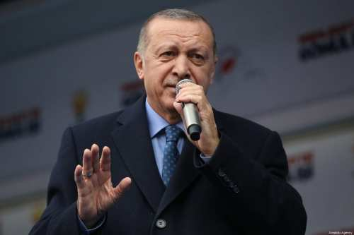 President of Turkey Recep Tayyip Erdogan addresses during campaign rally of his Justice and Development (AK) Party for March 31 local elections, in Kahramanmaras, Turkey on February 23, 2019 [Murat Kula / Anadolu Agency]
