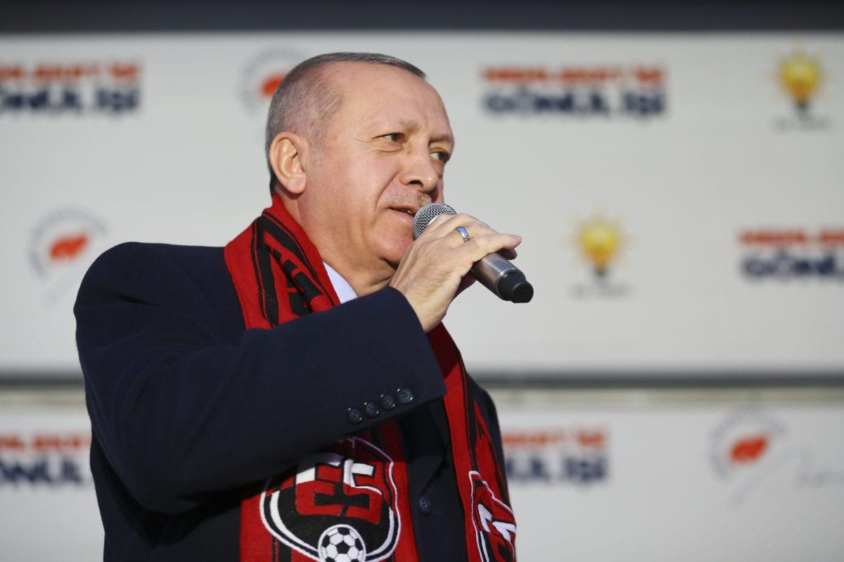 President of Turkey and the leader of Turkey's ruling Justice and Development (AK) Party Recep Tayyip Erdogan addresses during a campaign rally for March 31 local elections in Erzincan, Turkey on 26 February 2019. [Halil Sağırkaya - Anadolu Agency]