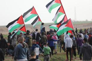 Palestinians during the Great March of Return on 2 February 2019 [Mohammed Asad/Middle East Monitor]