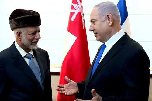 Omani Foreign Minister Yousef Bin Alawi Bin Abdullah (L) and Israeli Prime Minister Benjamin Netanyahu in Warsaw, Poland on 13 February 2019 [YouTube]